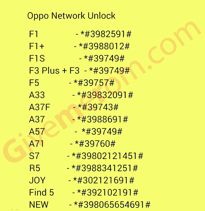 Oppo Country Network Unlock Codes | Give Me Rom